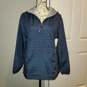Navy and white polka dot lined pullover jacket
